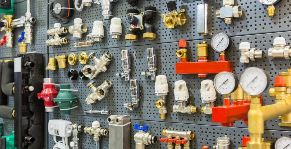 Plumbing equipment, pressure sensors and thermostat. Valves and tools